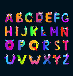 kids alphabet with funny monster letters vector image