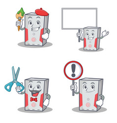 Set of computer character with artist barber bring vector
