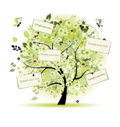 wish tree floral with cards vector image