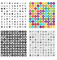 100 birthday icons set variant vector