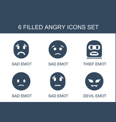 6 angry icons vector