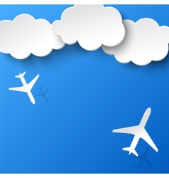 Abstract background with two airplanes and clouds vector image