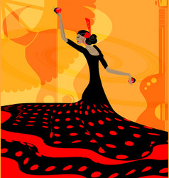 abstract red-black woman and flamenco vector image