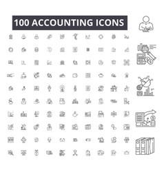 accounting editable line icons 100 set on vector image