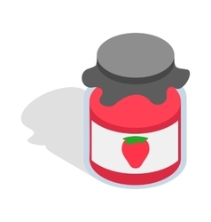 Bank strawberry jam icon isometric 3d style vector image