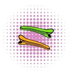 Barber barrette pin icon comics style vector image