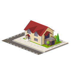 Beautiful small isometric house on green ground vector