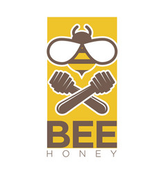 Bee honey logo design with two crossed dippers and vector