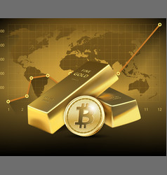 Bitcoin and two gold bars on dark background vector