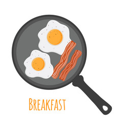 Breakfast - egg bacon cartoon flat style vector