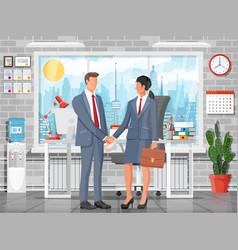 Business people partners handshake vector