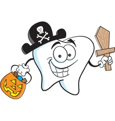 Cartoon tooth in pirate costume vector image