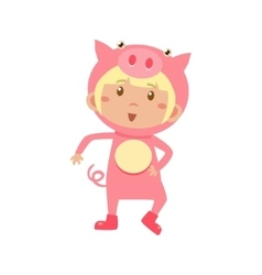 Child Wearing Costume of Piggy vector