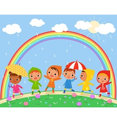 children walk on a beautiful rainy day vector image