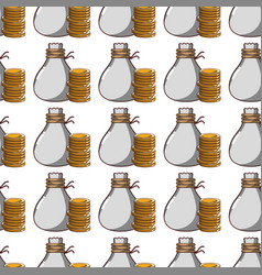 Coins cash money with bag background vector