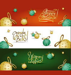collection of headers with xmas tree decoration vector image