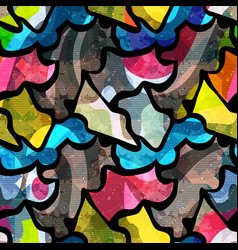 Colored abstract seamless pattern in graffiti vector
