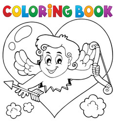 Coloring book with heart and cupid vector