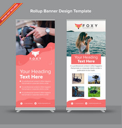Contemporary rollup banner with peach fluidity vector