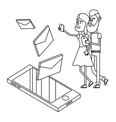 couple and email technology isometric in black and vector image