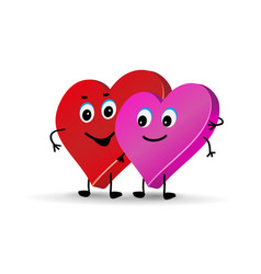 cute characters lovers couple hearts one vector image