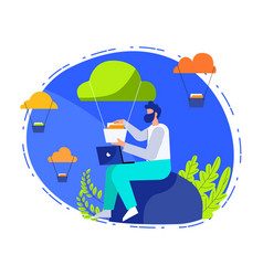Data upload online concept vector