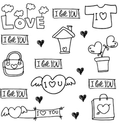 Doodle of love with hand draw vector