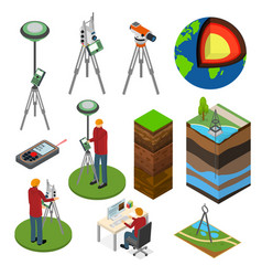 earth exploration sign 3d icon set isometric view vector image