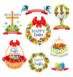 easter cartoon icon and label set design vector image