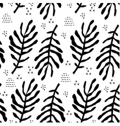 fern leaves flat hand drawn seamless pattern vector image
