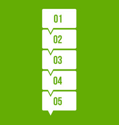 five steps infographic icon green vector image