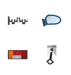 flat icon auto set of headlight steels shafts vector image