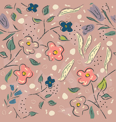 floral seamless pattern hand drawn pastel colors vector image
