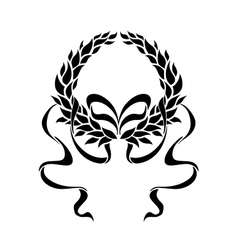 Foliate laurel wreath with long trailing ribbons vector