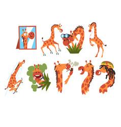Funny crazy giraffe collection cute african vector