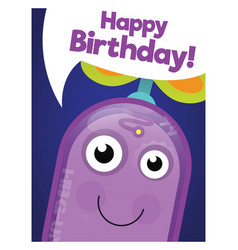 funny robot happy birthday card vector image