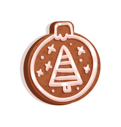 glazed gingerbread in the shape of christmas tree vector image