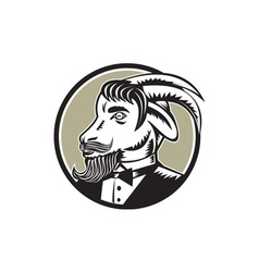 Goat Beard Tuxedo Circle Woodcut vector image