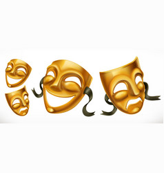 gold theatrical masks comedy and tragedy 3d icon vector image