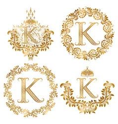Golden letter K vintage monograms set Heraldic vector image