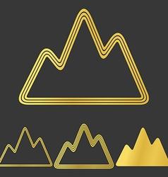 Golden line mountain logo design set vector