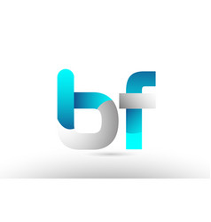 Grey blue alphabet letter bf b f logo 3d design vector