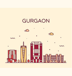 gurgaon skyline haryana india linear style vector image