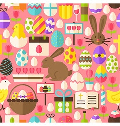 Happy Easter Flat Design Pink Seamless Pattern vector