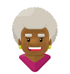 Happy old woman with curly white hair flat vector
