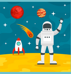 Hello from spaceman concept background flat style vector