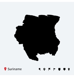 High detailed map of Suriname with navigation pins vector image