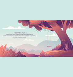 horizontal landscape with a tree in foreground vector image