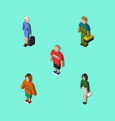 isometric people set of plumber pedagogue guy vector image