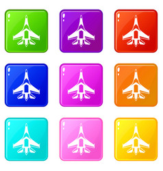jet fighter plane set 9 vector image